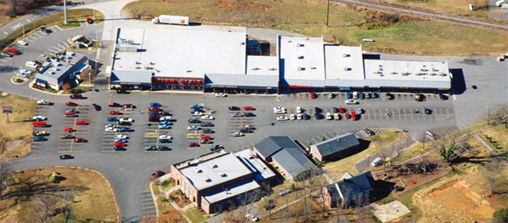 aerial shot of clarksville center in virginia - kamin realty